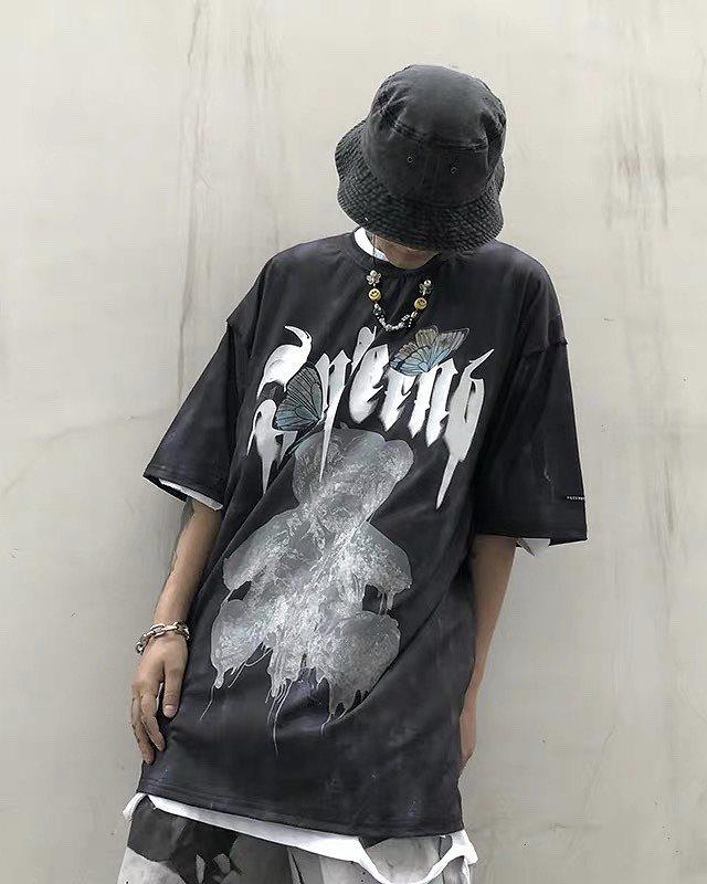 《2色》バタフライメルトクマタイダイTシャツの画像2